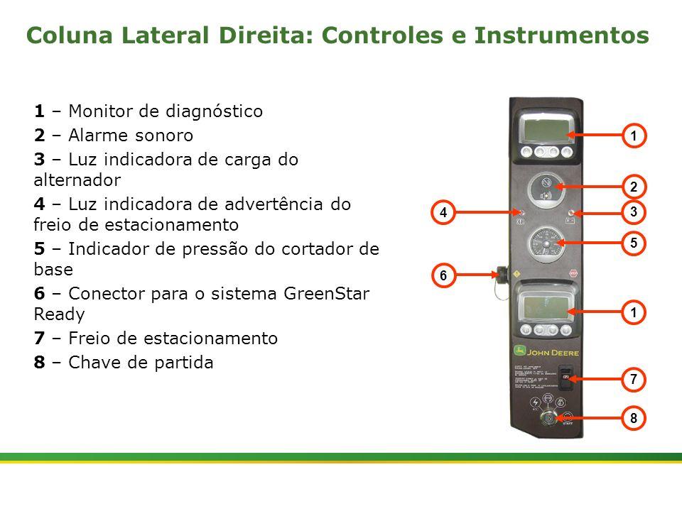 |Colhedora de Cana 3520 & 3522 : Cabine e Plataforma do Operador | Janeiro, 20105 1 2 3 5 1 7 8 6 4 1 – Monitor de diagnóstico 2 – Alarme sonoro 3 – L