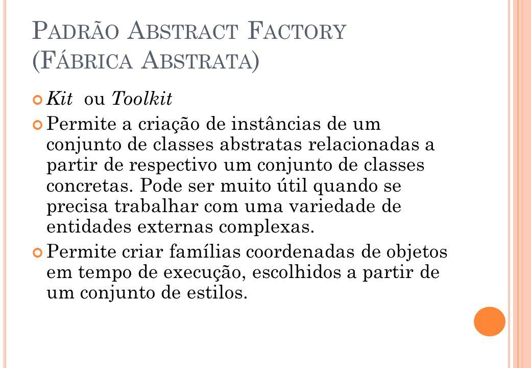 P ADRÃO A BSTRACT F ACTORY (F ÁBRICA A BSTRATA ) Kit ou Toolkit Permite a criação de instâncias de um conjunto de classes abstratas relacionadas a par