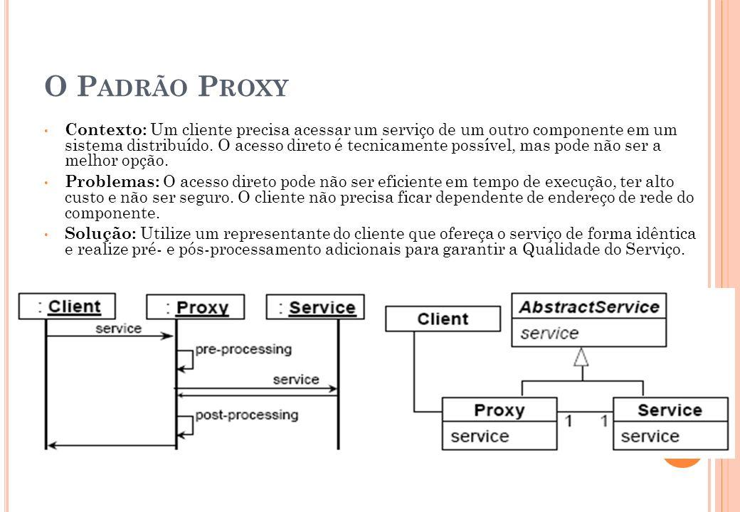O P ADRÃO P ROXY Contexto: Um cliente precisa acessar um serviço de um outro componente em um sistema distribuído. O acesso direto é tecnicamente poss
