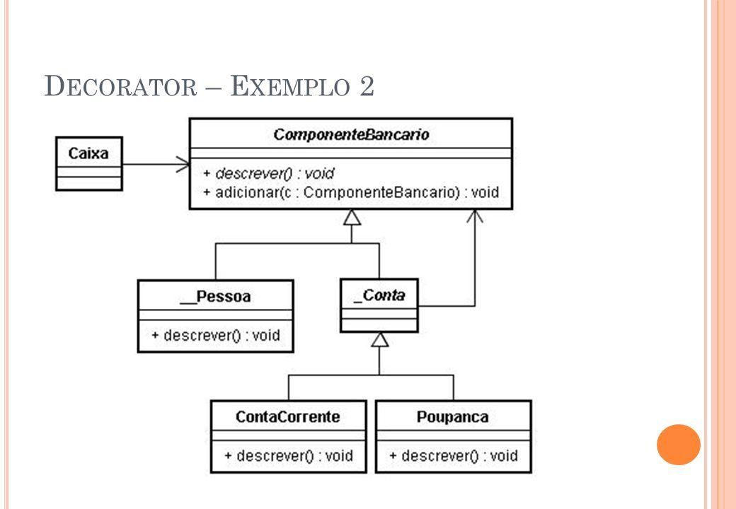 P ADRÃO A BSTRACT F ACTORY – E XEMPLO II A classe abstrata WidgetFactory possui duas especializações: MotifWidgetFactory para widgets* Motif e QtWidgetFactory para widgets* Qt.