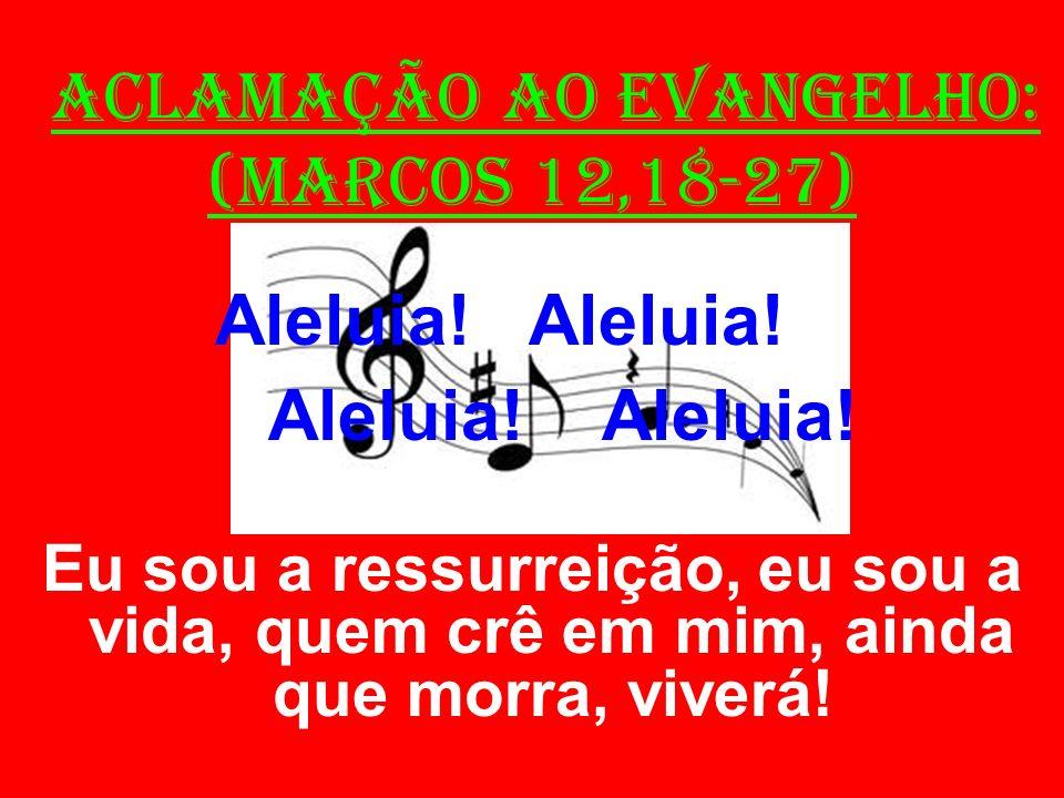 ACLAMAÇÃO AO EVANGELHO: (Marcos 12,18-27) Aleluia! Aleluia! Eu sou a ressurreição, eu sou a vida, quem crê em mim, ainda que morra, viverá!