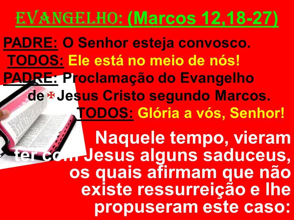 EVANGELHO: (Marcos 12,18-27) PADRE: O Senhor esteja convosco. TODOS: Ele está no meio de nós! PADRE: Proclamação do Evangelho de Jesus Cristo segundo
