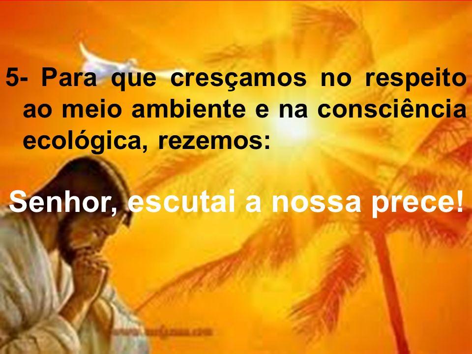 5- Para que cresçamos no respeito ao meio ambiente e na consciência ecológica, rezemos: Senhor, escutai a nossa prece !
