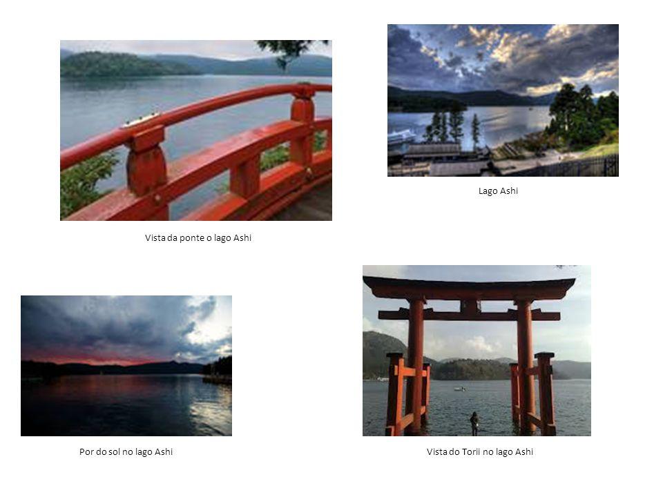 Por do sol no lago Ashi Lago Ashi Vista da ponte o lago Ashi Vista do Torii no lago Ashi