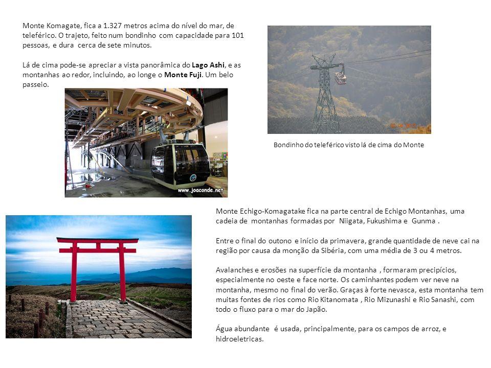 Monte Komagate, fica a 1.327 metros acima do nível do mar, de teleférico. O trajeto, feito num bondinho com capacidade para 101 pessoas, e dura cerca