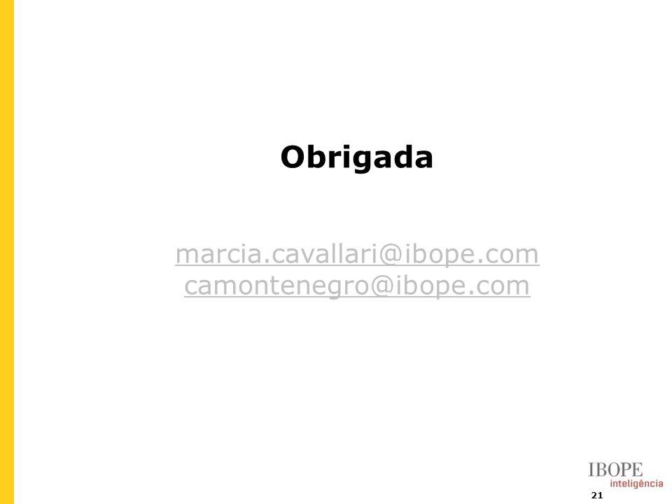 21 Obrigada marcia.cavallari@ibope.com camontenegro@ibope.com