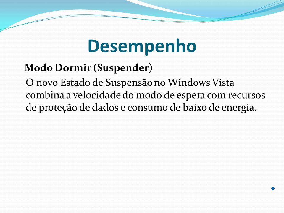 Desempenho Modo Dormir (Suspender) O novo Estado de Suspensão no Windows Vista combina a velocidade do modo de espera com recursos de proteção de dado