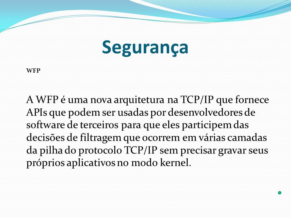 Segurança WFP A WFP é uma nova arquitetura na TCP/IP que fornece APIs que podem ser usadas por desenvolvedores de software de terceiros para que eles