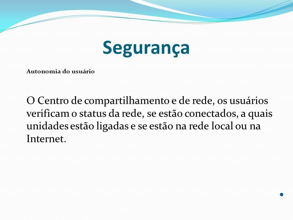 Segurança Autonomia do usuário O Centro de compartilhamento e de rede, os usuários verificam o status da rede, se estão conectados, a quais unidades e