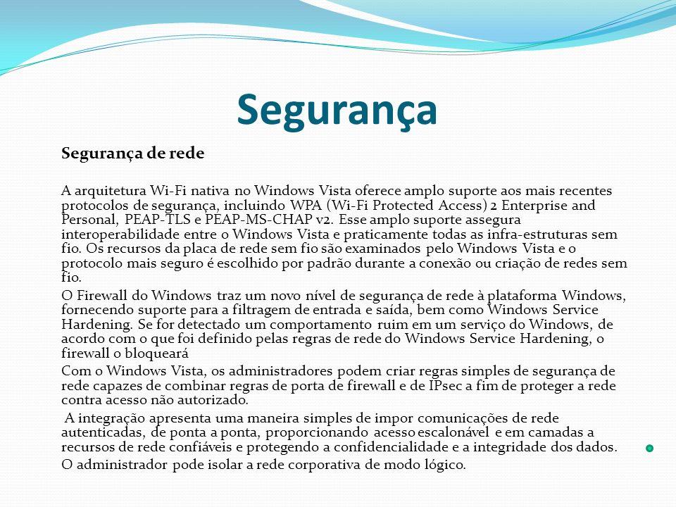 Segurança Segurança de rede A arquitetura Wi-Fi nativa no Windows Vista oferece amplo suporte aos mais recentes protocolos de segurança, incluindo WPA