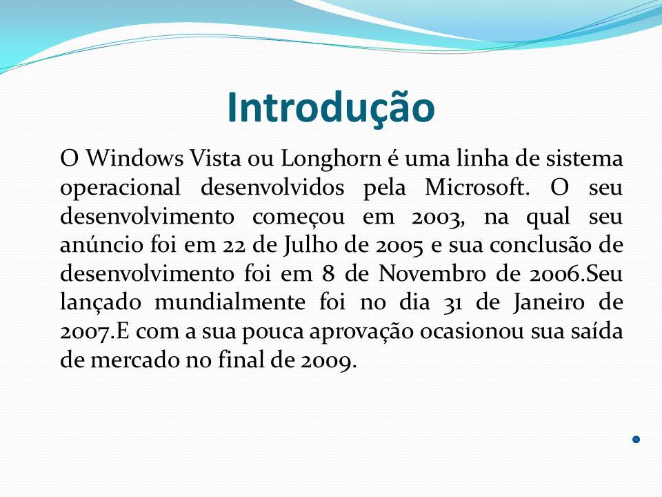 Introdução O Windows Vista ou Longhorn é uma linha de sistema operacional desenvolvidos pela Microsoft. O seu desenvolvimento começou em 2003, na qual
