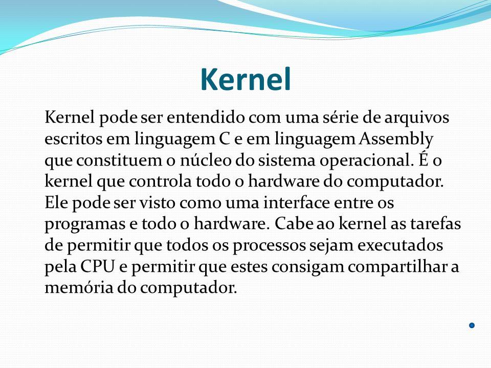 Kernel Kernel pode ser entendido com uma série de arquivos escritos em linguagem C e em linguagem Assembly que constituem o núcleo do sistema operacio