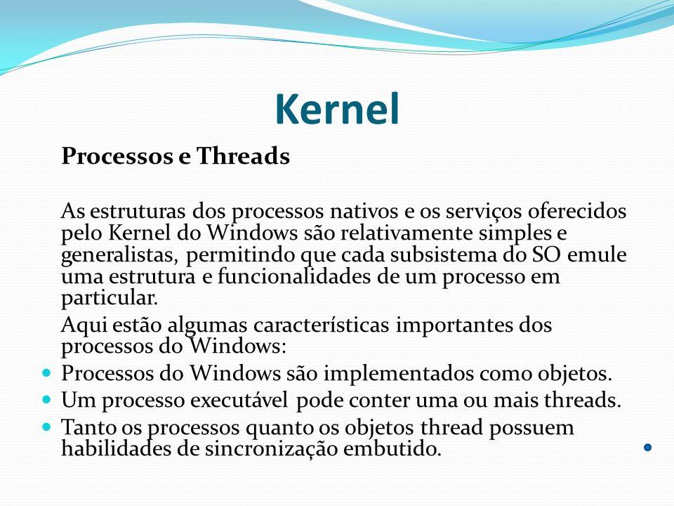 Kernel Processos e Threads As estruturas dos processos nativos e os serviços oferecidos pelo Kernel do Windows são relativamente simples e generalista