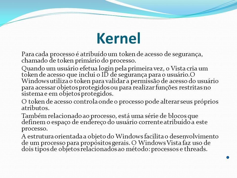 Kernel Para cada processo é atribuído um token de acesso de segurança, chamado de token primário do processo. Quando um usuário efetua login pela prim