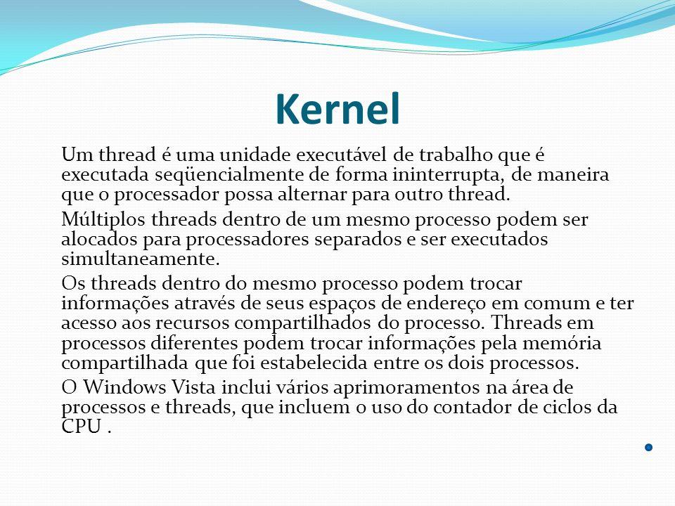 Kernel Um thread é uma unidade executável de trabalho que é executada seqüencialmente de forma ininterrupta, de maneira que o processador possa altern