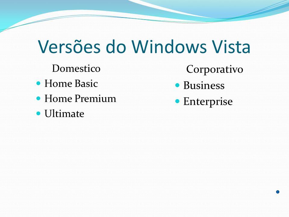 Segurança Rede O Windows Vista possui proteção de acesso à rede para ajudar a impedir que computadores comprometidos a segurança de se conectar à rede interna do usuário até que sejam cumpridos os critérios de segurança.