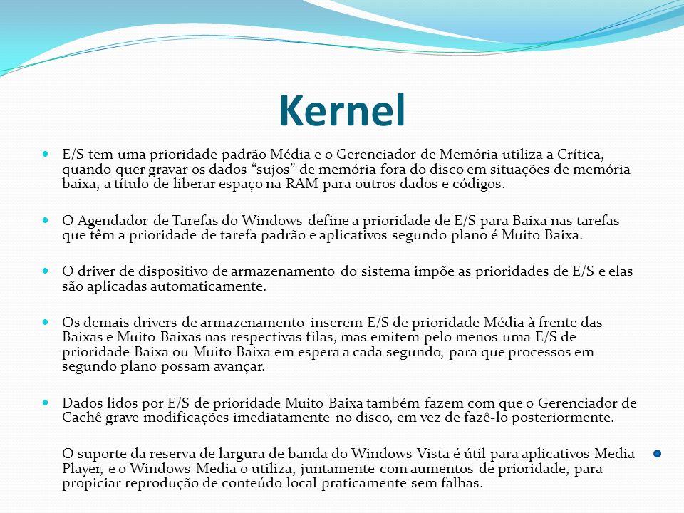 Kernel E/S tem uma prioridade padrão Média e o Gerenciador de Memória utiliza a Crítica, quando quer gravar os dados sujos de memória fora do disco em