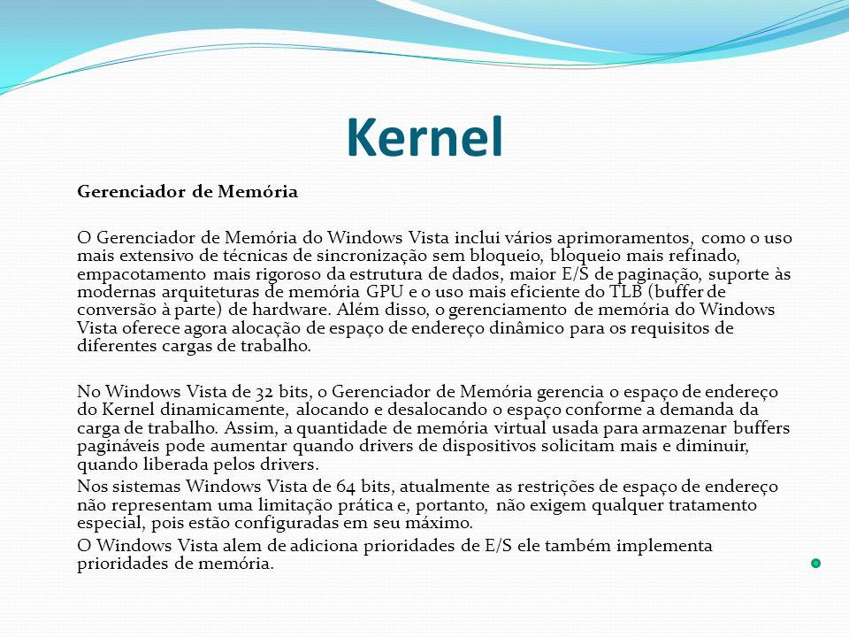 Kernel Gerenciador de Memória O Gerenciador de Memória do Windows Vista inclui vários aprimoramentos, como o uso mais extensivo de técnicas de sincron