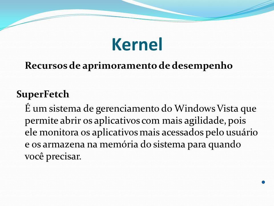Kernel Recursos de aprimoramento de desempenho SuperFetch É um sistema de gerenciamento do Windows Vista que permite abrir os aplicativos com mais agi