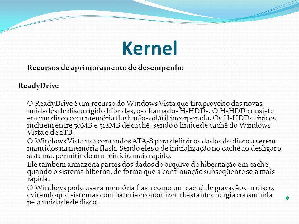 Kernel Recursos de aprimoramento de desempenho ReadyDrive O ReadyDrive é um recurso do Windows Vista que tira proveito das novas unidades de disco ríg