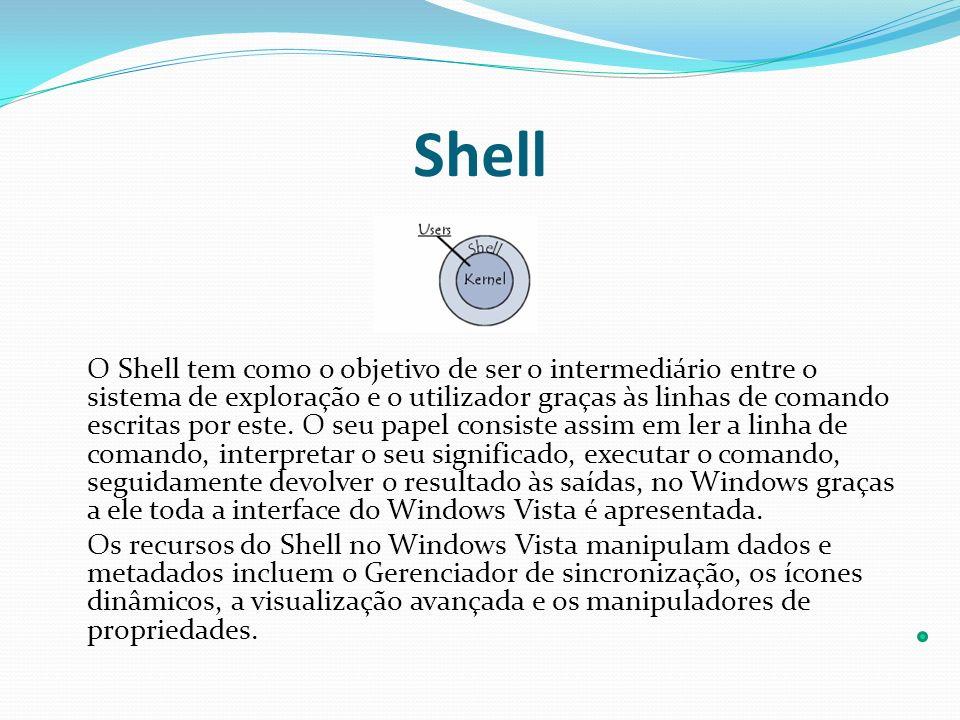 Shell O Shell tem como o objetivo de ser o intermediário entre o sistema de exploração e o utilizador graças às linhas de comando escritas por este. O
