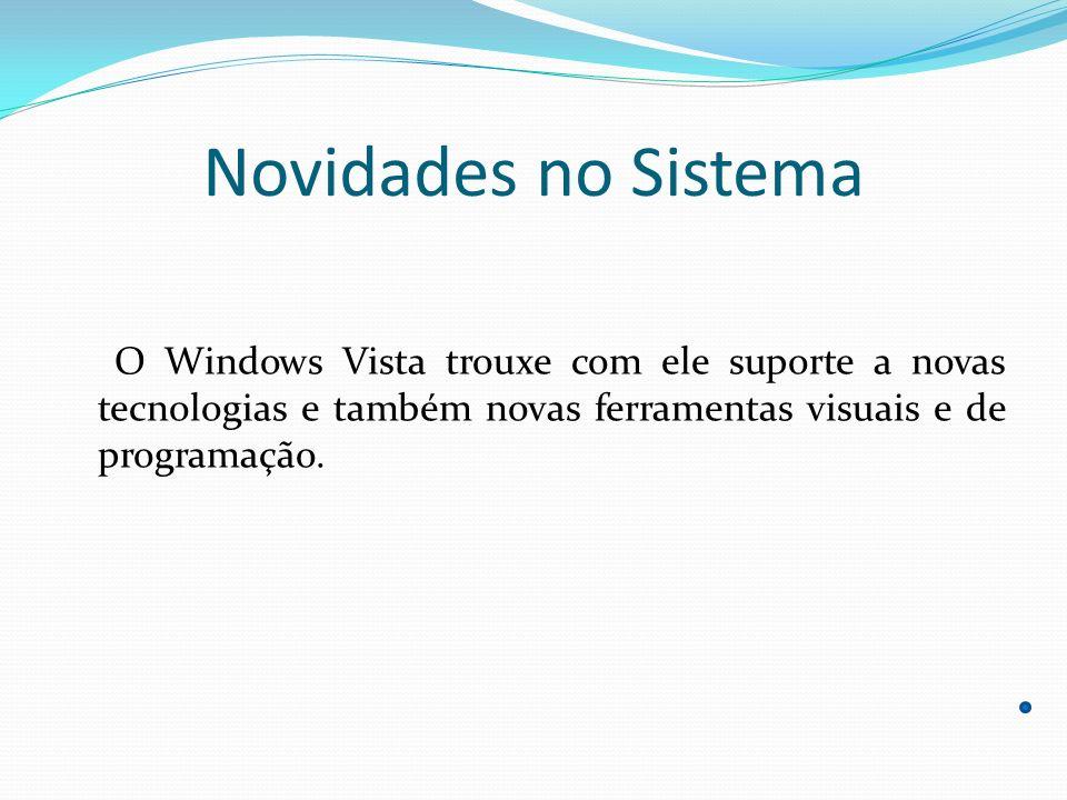 Novidades no Sistema Algumas das novidades que vieram no Windows Vista: Windows Aero Microsoft.NET Framework 3.0 Windows Presentation Foundation Windows SideShow Windows Update Microsoft Silverlight Barra Lateral do Windows Windows Media Player 11 Windows Media Center Índice de experiência do Windows DirectX 10