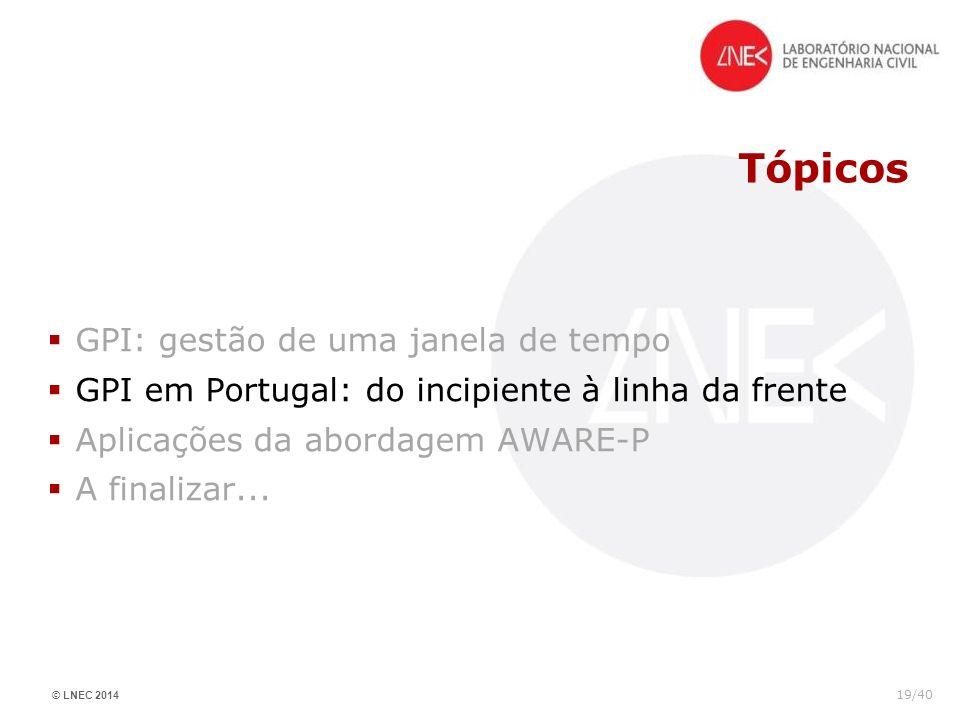 © LNEC 2014 19/40 Tópicos GPI: gestão de uma janela de tempo GPI em Portugal: do incipiente à linha da frente Aplicações da abordagem AWARE-P A finali