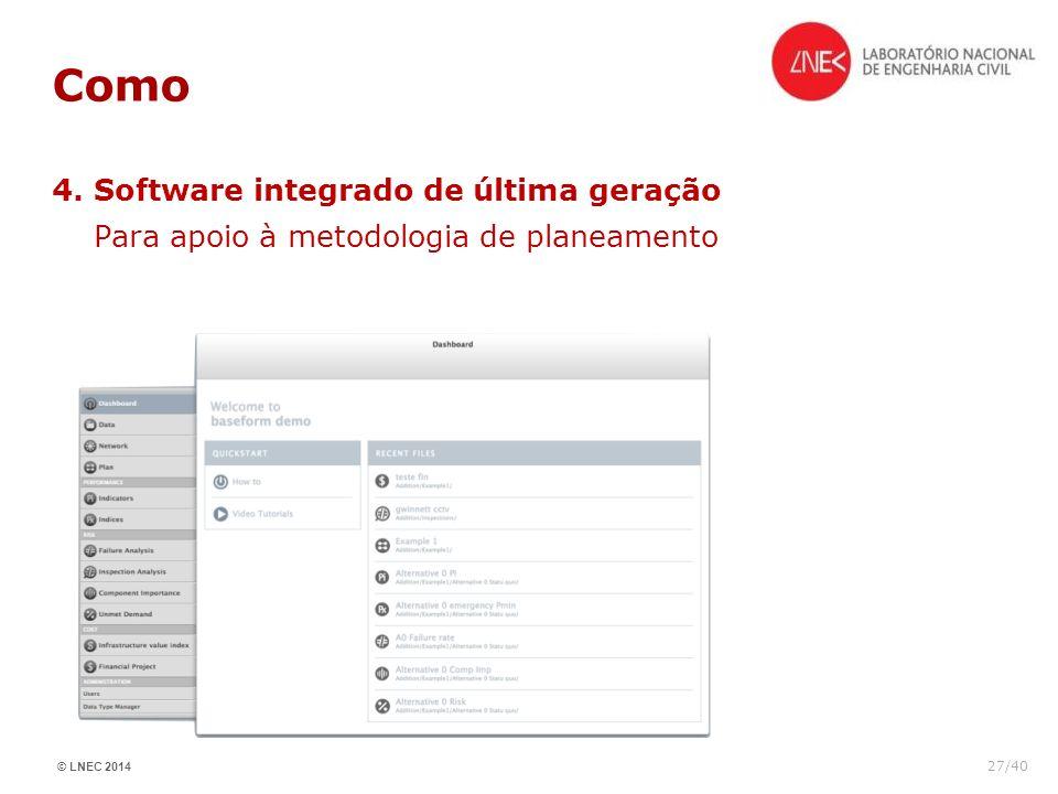 © LNEC 2014 27/40 Como 4. Software integrado de última geração Para apoio à metodologia de planeamento