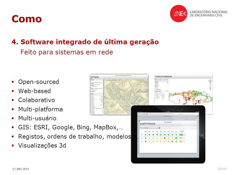 © LNEC 2014 28/40 Como 4. Software integrado de última geração Feito para sistemas em rede Open-sourced Web-based Colaborativo Multi-platforma Multi-u