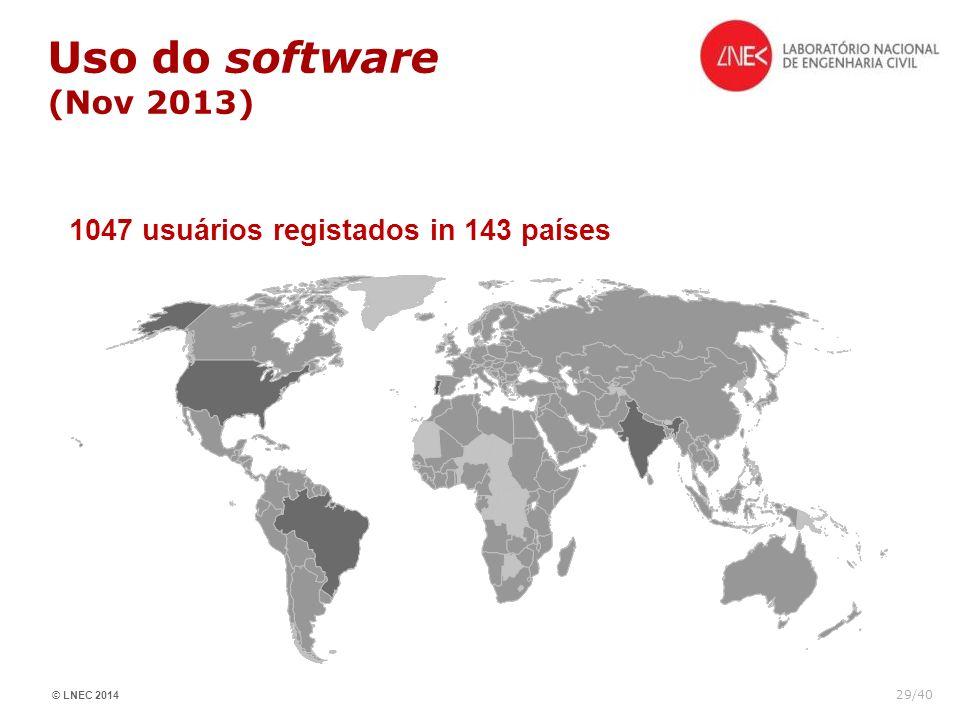 © LNEC 2014 29/40 1047 usuários registados in 143 países Uso do software (Nov 2013)