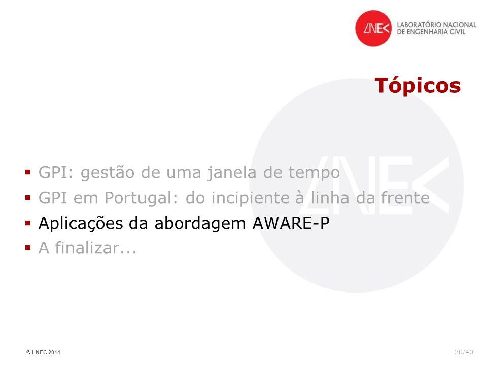© LNEC 2014 30/40 Tópicos GPI: gestão de uma janela de tempo GPI em Portugal: do incipiente à linha da frente Aplicações da abordagem AWARE-P A finali