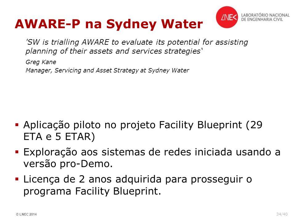 © LNEC 2014 34/40 AWARE-P na Sydney Water Aplicação piloto no projeto Facility Blueprint (29 ETA e 5 ETAR) Exploração aos sistemas de redes iniciada u