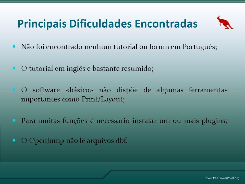 Principais Dificuldades Encontradas Não foi encontrado nenhum tutorial ou fórum em Português; O tutorial em inglês é bastante resumido; O software «básico» não dispõe de algumas ferramentas importantes como Print/Layout; Para muitas funções é necessário instalar um ou mais plugins; O OpenJump não lê arquivos dbf.