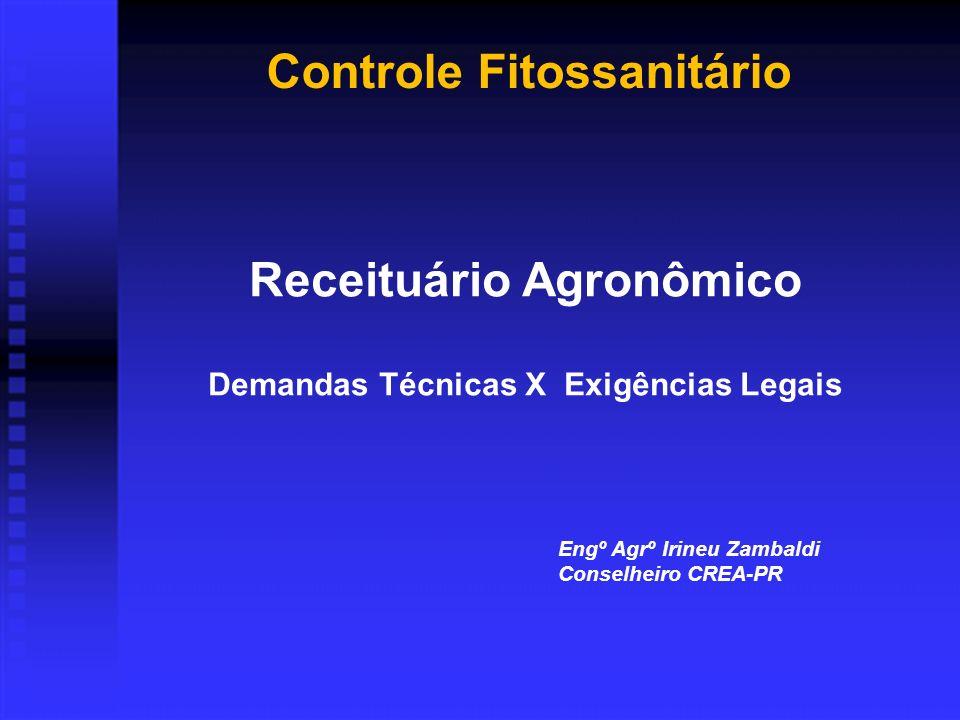 Controle Fitossanitário Receituário Agronômico Demandas Técnicas X Exigências Legais Engº Agrº Irineu Zambaldi Conselheiro CREA-PR