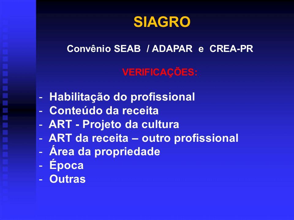 SIAGRO Convênio SEAB / ADAPAR e CREA-PR VERIFICAÇÕES: - Habilitação do profissional - Conteúdo da receita - ART - Projeto da cultura - ART da receita – outro profissional - Área da propriedade - Época - Outras