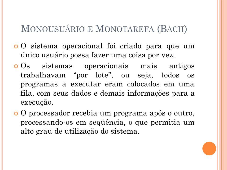 M ONOUSUÁRIO E M ONOTAREFA (B ACH ) O sistema operacional foi criado para que um único usuário possa fazer uma coisa por vez. Os sistemas operacionais