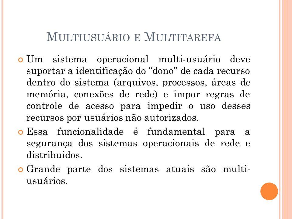 M ULTIUSUÁRIO E M ULTITAREFA Um sistema operacional multi-usuário deve suportar a identificação do dono de cada recurso dentro do sistema (arquivos, p