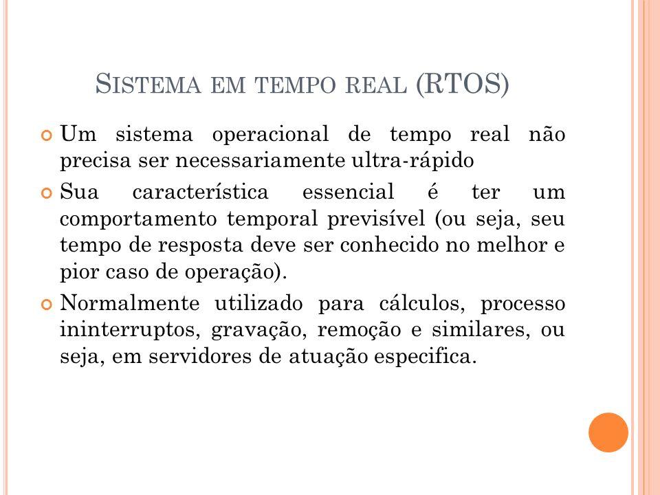 S ISTEMA EM TEMPO REAL (RTOS) Um sistema operacional de tempo real não precisa ser necessariamente ultra-rápido Sua característica essencial é ter um