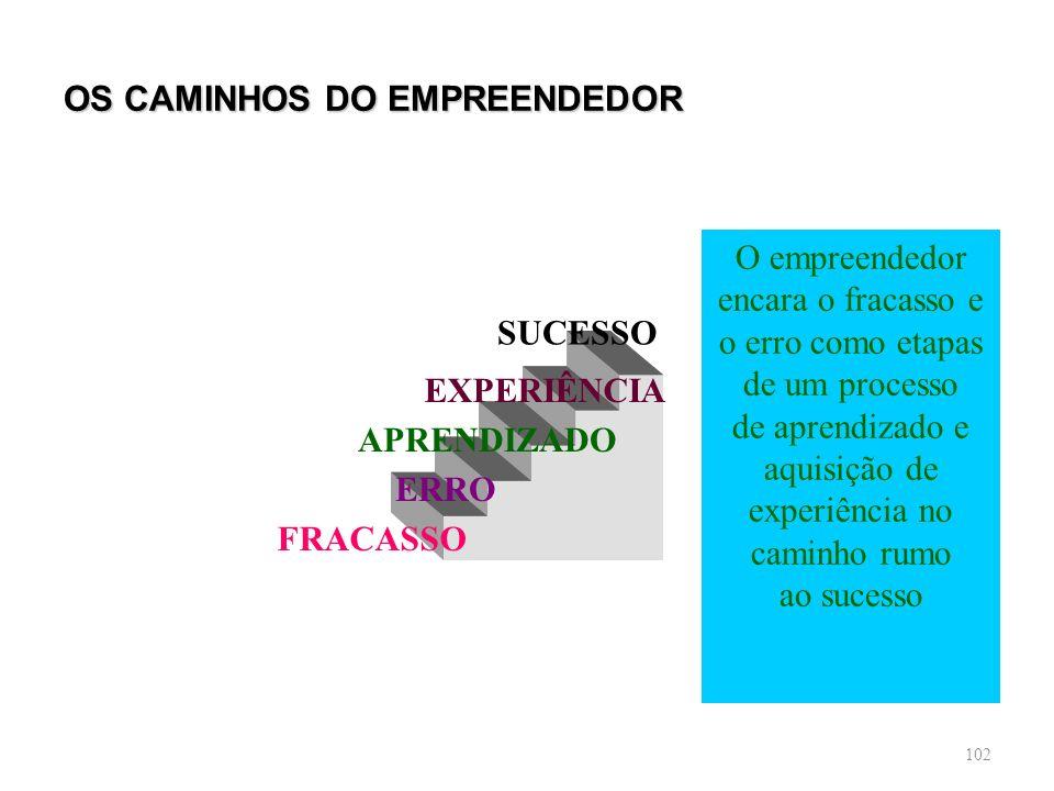 102 OS CAMINHOS DO EMPREENDEDOR SUCESSO EXPERIÊNCIA APRENDIZADO ERRO FRACASSO O empreendedor encara o fracasso e o erro como etapas de um processo de