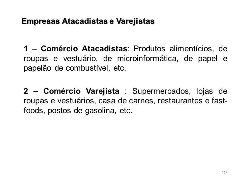 113 Empresas Atacadistas e Varejistas 1 – Comércio Atacadistas: Produtos alimentícios, de roupas e vestuário, de microinformática, de papel e papelão