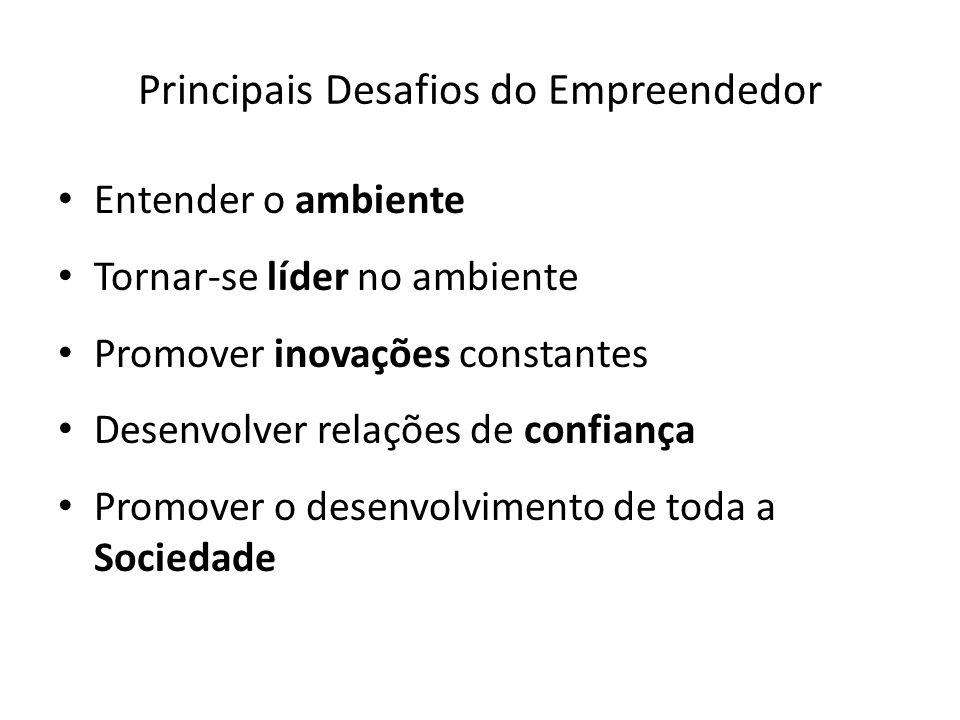 Principais Desafios do Empreendedor Entender o ambiente Tornar-se líder no ambiente Promover inovações constantes Desenvolver relações de confiança Pr