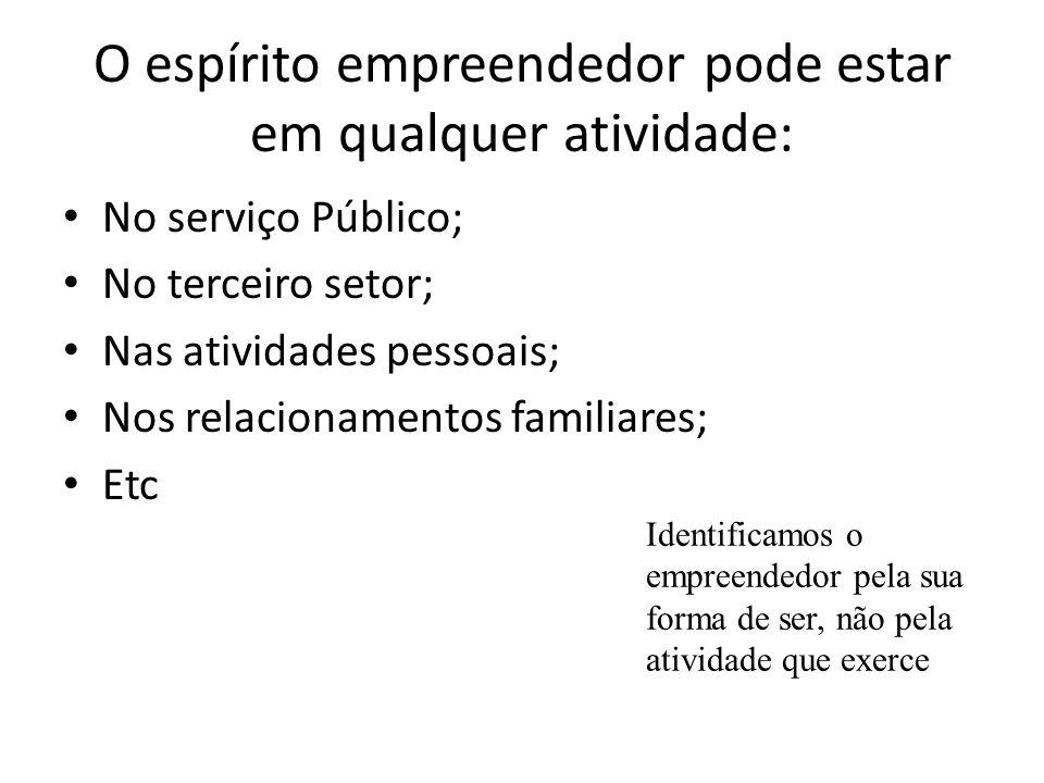 O espírito empreendedor pode estar em qualquer atividade: No serviço Público; No terceiro setor; Nas atividades pessoais; Nos relacionamentos familiar