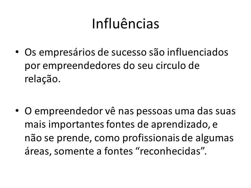 Influências Os empresários de sucesso são influenciados por empreendedores do seu circulo de relação. O empreendedor vê nas pessoas uma das suas mais