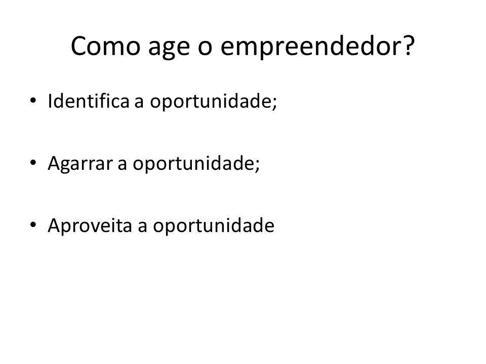 Como age o empreendedor? Identifica a oportunidade; Agarrar a oportunidade; Aproveita a oportunidade