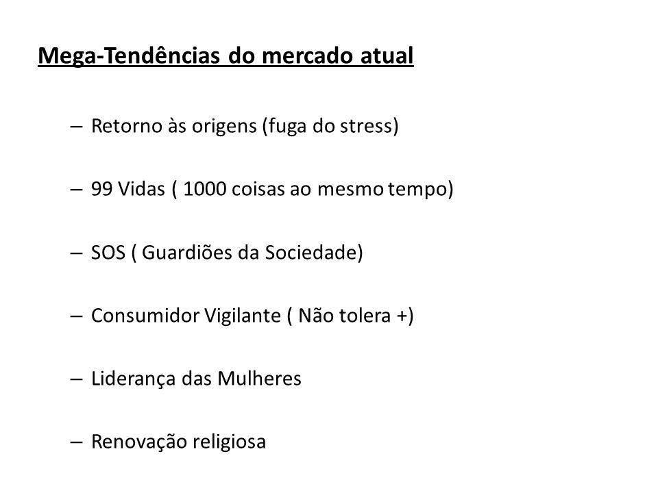 Mega-Tendências do mercado atual – Retorno às origens (fuga do stress) – 99 Vidas ( 1000 coisas ao mesmo tempo) – SOS ( Guardiões da Sociedade) – Cons