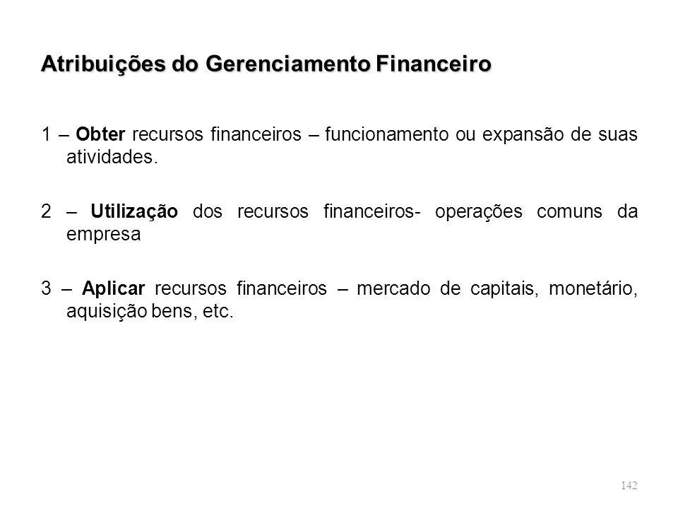 142 Atribuições do Gerenciamento Financeiro 1 – Obter recursos financeiros – funcionamento ou expansão de suas atividades. 2 – Utilização dos recursos