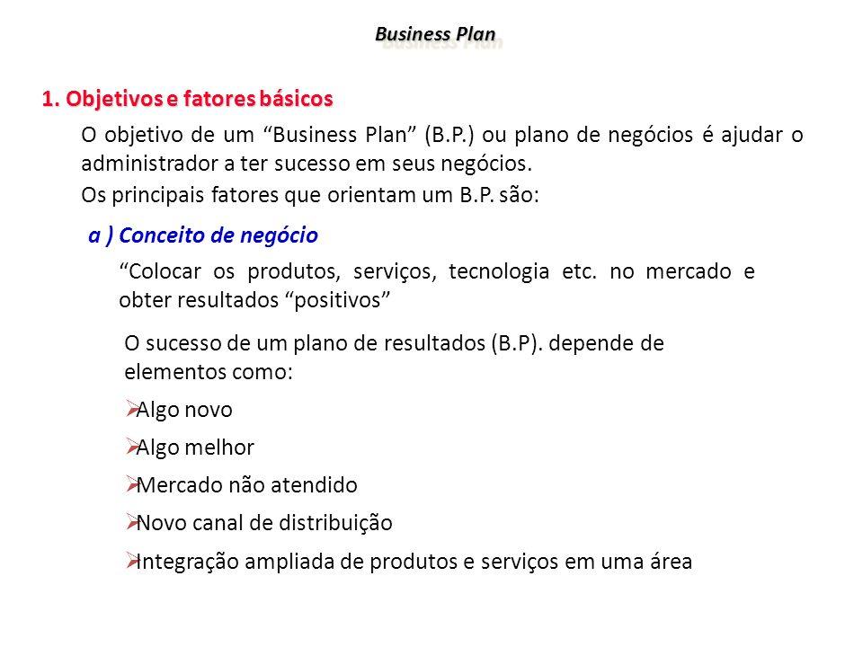 Business Plan 1. Objetivos e fatores básicos 1. Objetivos e fatores básicos O objetivo de um Business Plan (B.P.) ou plano de negócios é ajudar o admi