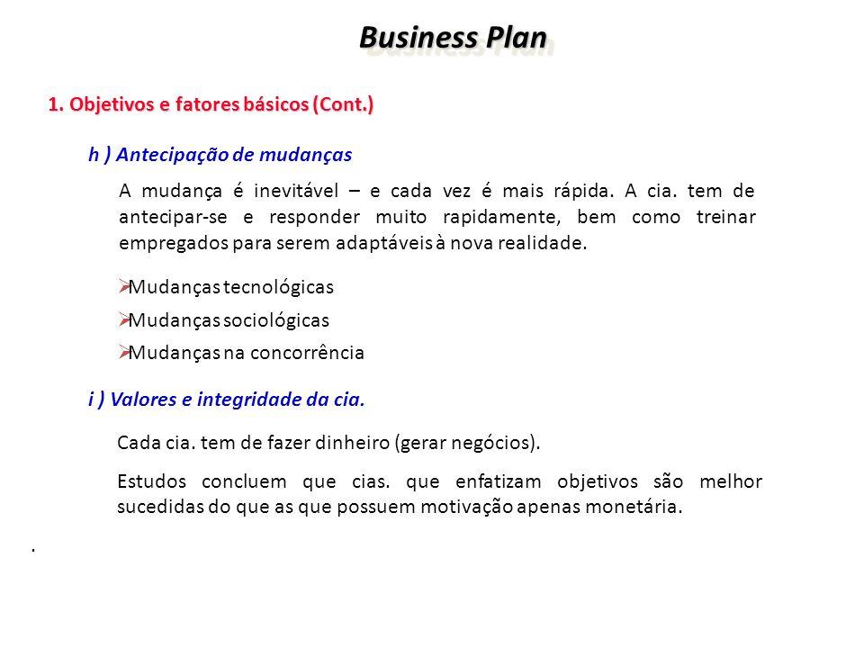 Business Plan Business Plan 1. Objetivos e fatores básicos (Cont.) 1. Objetivos e fatores básicos (Cont.) h ) Antecipação de mudanças A mudança é inev