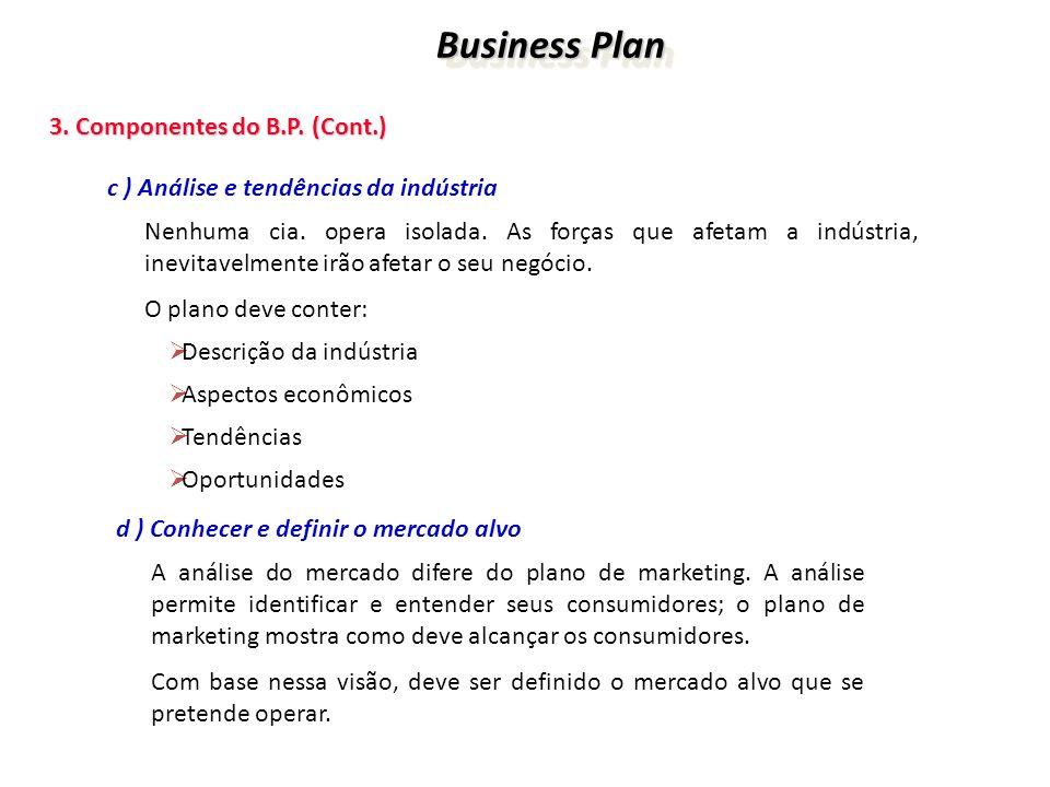 Business Plan Business Plan 3. Componentes do B.P. (Cont.) 3. Componentes do B.P. (Cont.) c ) Análise e tendências da indústria Nenhuma cia. opera iso
