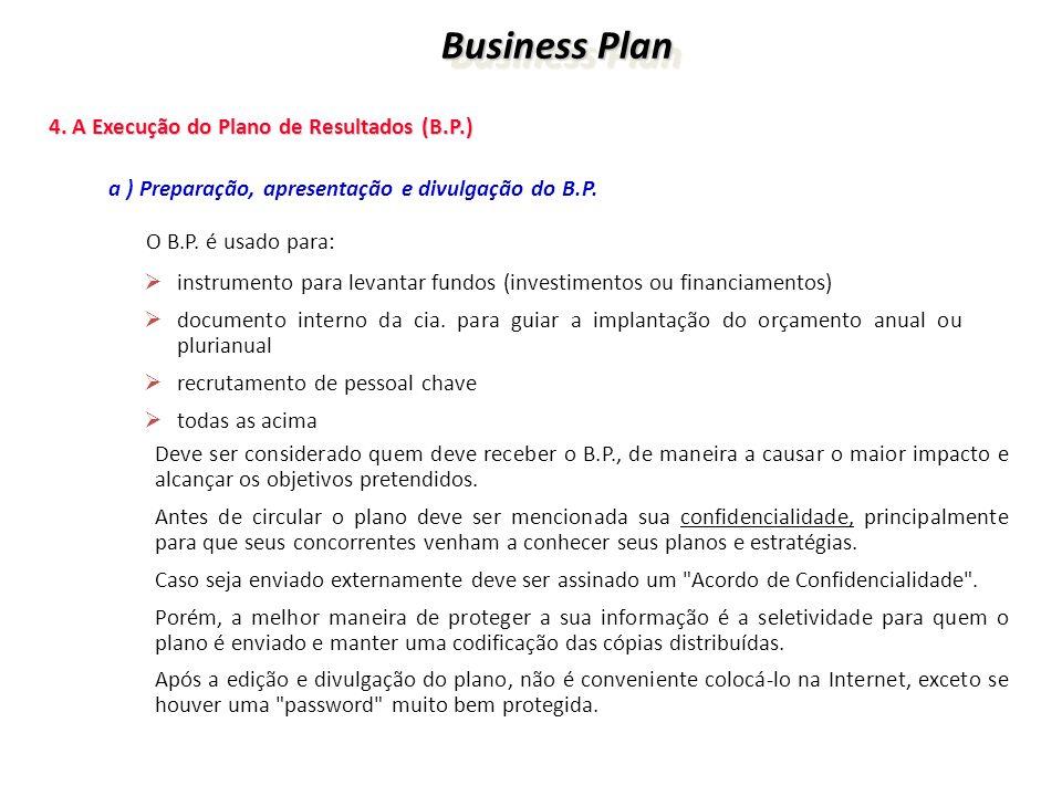 Business Plan Business Plan 4. A Execução do Plano de Resultados (B.P.) 4. A Execução do Plano de Resultados (B.P.) a ) Preparação, apresentação e div